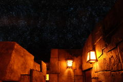 Ancient walls with stars in the sky Royalty Free Stock Photo