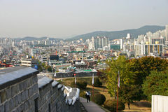 The ancient walls of Suwon city,South Korea Stock Photos