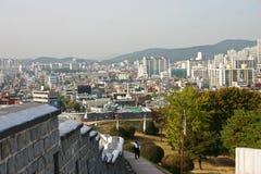 The ancient walls of Suwon city,South Korea. The ancient city walls overlooking the city centre. Suwon. South Korea Stock Photos
