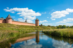 The ancient walls of the Suzdal Kremlin. Stock Photography