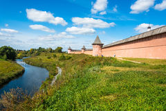 The ancient walls of the Suzdal Kremlin on a Sunny summer day, A Stock Photo