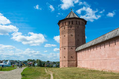 The ancient walls of the Suzdal Kremlin on a Sunny summer day, A Stock Photography