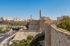 Ancient walls and Tower of David in Jerusalem. Stock Photography
