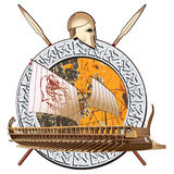 Ancient War. Round vignette with ancient ship on a grunge background in stone framing and two spears with greece helmet Stock Image