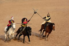 Ancient war performance. The ancient war performance is held in Minle Manor in Yuci, Shanxi, China Stock Image