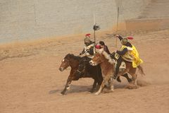 Ancient war performance. The ancient war performance is held in Minle Manor in Yuci, Shanxi, China Stock Photo
