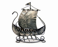 Ancient war ship. A small scale model of an ancient war ship, made of metal royalty free stock image