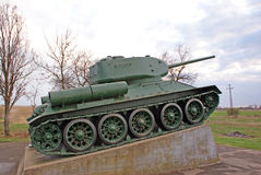 Ancient war tank exposed stock images