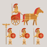 Ancient wariors icons with sword or spear and. Ancient wariors icons set. Warrior on chariot with spear and warrior with sword and shield. Vector illustration Stock Photo