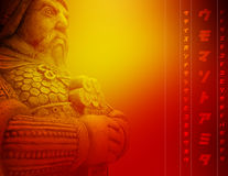 Ancient warrior. Beautiful abstract red background with ancient warrior holding sword Stock Image