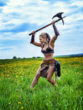 Ancient warrior female barbarian. Royalty Free Stock Images