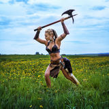 Ancient warrior female barbarian. Royalty Free Stock Photography