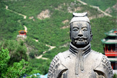 Ancient warrior on the Great Wall stock images