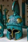 Ancient warrior helmet. Bronze helmet ancient warrior. nGreece Athens souvenirs vector illustration