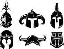 Ancient Warrior Helmet Set. Variations of types of vintage protective battle head gear Stock Image