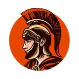 Ancient warrior in helmet symbol. Vector illustration Royalty Free Stock Images