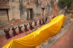 Ancient warrior make a pilgrimage to Reclining Buddha. Royalty Free Stock Images
