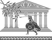 Ancient warrior and olive branch Royalty Free Illustration