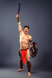 Ancient warrior. Shout of victory Stock Image