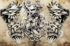Ancient warrior, Tattoo sketch Royalty Free Stock Images