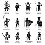 Ancient warriors around the world. Illustrations depict ancient soldiers, military, fighters, outfit, wear, weapon, and armors of different dynasty and empires Stock Photo