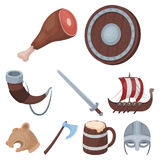 Ancient warriors of the Vikings on the ship. Outfit and symbols of the Vikings.Vikings icon in set collection on cartoon. Style vector symbol stock web Royalty Free Stock Photography