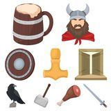 Ancient warriors of the Vikings on the ship. Outfit and symbols of the Vikings.Vikings icon in set collection on cartoon Royalty Free Stock Photography