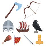 Outfit and symbols of the Vikings.Vikings icon in set collection on cartoon Royalty Free Stock Photos