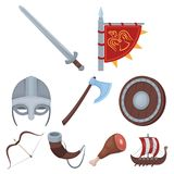 Ancient warrior related icon set. Ancient warriors of the Vikings on the ship. Outfit and symbols of the Vikings.Vikings icon in set collection on cartoon style Stock Photo