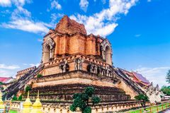 Ancient Wat Chedi Luang temple in Chiang Mai - Thailand. View on ancient Wat Chedi Luang temple in Chiang Mai - Thailand Stock Photography