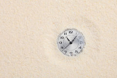 Ancient watch shipped in sand. The ancient scratched watch shipped in sand stock photos