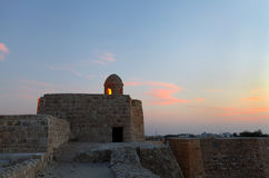 Ancient watch tower in beautiful sky, Bahrain fort Royalty Free Stock Photography
