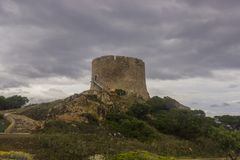 Ancient watch tower in Sardinia royalty free stock photo
