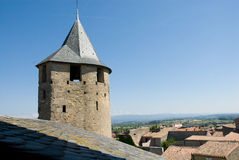 Ancient watchtower of carcassonne chateau Stock Photography