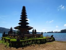 Ancient Water Goddess temple in Bali. A photograph picture of the ancient temple of Pura Ulun Danau Bratan at Bedugul, Bali, Indonesia.  Beautiful antique Stock Photo
