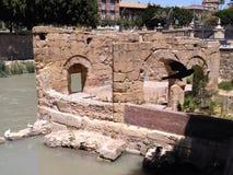Ruins at the river stock photos