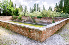 Ancient water stock rainwater collection basin inside Monte Oliv Royalty Free Stock Images
