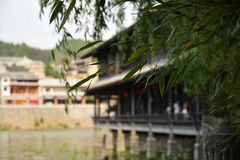 Ancient water town with bamboo leaves Royalty Free Stock Photo