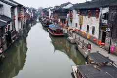 Ancient water towns-shantang suzhou. The canal at shantang in Suzhou China stock image