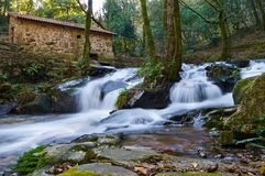 Ancient watermill. A small waterwall around an ancient watermill in Galicia, Spain Royalty Free Stock Photo