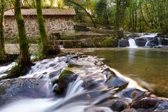 Ancient watermill. A small waterwall around an ancient watermill in Galicia, Spain Royalty Free Stock Image