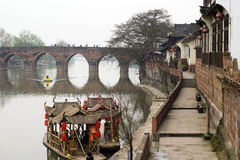 Ancient Waterside Town Stock Image