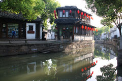 Ancient watery town. In the morning. Tongli. Suzhou. China stock image