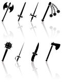 Ancient weapon. Set of black ancient weapon icons on white background, illustration Stock Images
