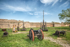Ancient Weapon in Akkerman fortress at Belgorod-Dnestrovsky Royalty Free Stock Photo