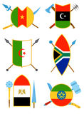 Ancient weapon, shields with African flags in flat vector style. Royalty Free Stock Photography