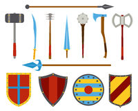 Ancient weapon and shields tool equipment set. Royalty Free Stock Images