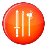 Ancient weapon sword, pick and axe icon Stock Images