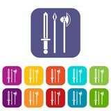 Ancient weapon sword, pick and axe icons set Stock Photos