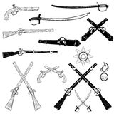 Ancient weapons. Antique firearms and swords,vector illustration Royalty Free Stock Image